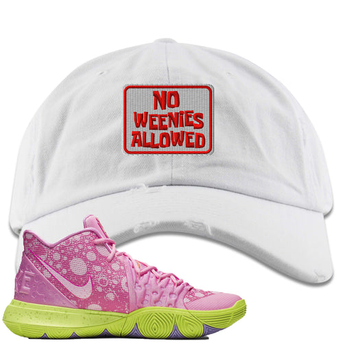 Spongebob Squarepants x Nike Kyrie 5 Patrick Star Sneaker Match No Weenies Allowed White Distressed Dad Hat