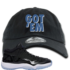 Air Jordan 11 Low IE Space Jam Sneaker Hook Up Got Em Black Distressed Dad Hat