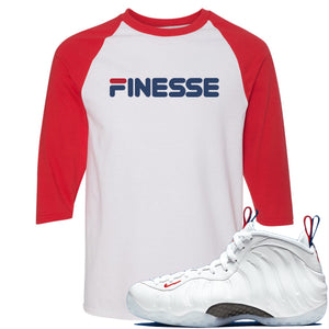 Nike WMNS Air Foamposite One USA Sneaker Hook Up Finesse White and Red Raglan T-Shirt