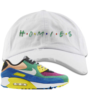 Nike Air Max 90 Viotech 2.0 Sneaker Hook Up Homies White Distressed Dad Hat