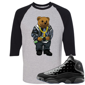 Air Jordan 13 Cap and Gown Sneaker Hook Up Sweater Bear Black and Sports Grey Ragalan T-Shirt