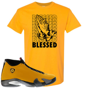 Reverse Ferrari 14s Sneaker Hook Up Blessed Gold Yellow T-Shirt