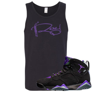 Air Jordan 7 Ray Allen Sneaker Hook Up Ray Signature Black Mens Tank Top