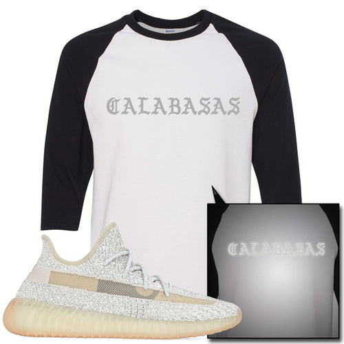 Adidas Yeezy Boost 350 v2 Lundmark Reflective Sneaker Match Calabasas White and Black Raglan T-Shirt