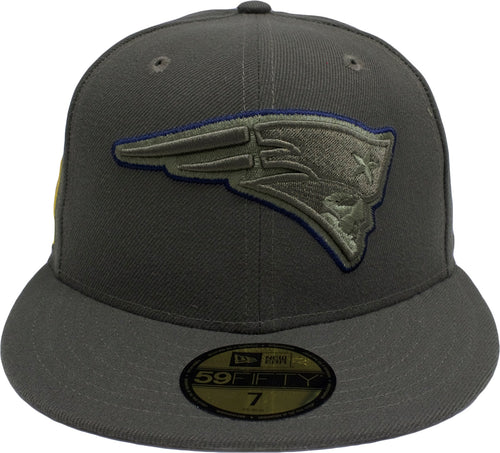 on the front of the new england patriots salute to service fitted cap is the patriots logo embroidered in solid green