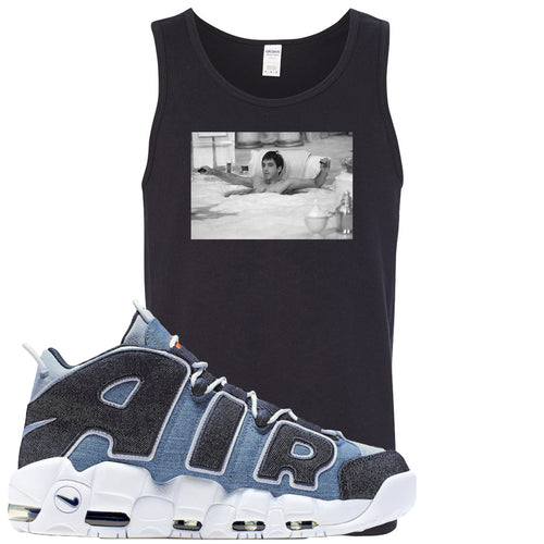 Nike Air More Uptempo Denim Sneaker Match Bathtub Scarface Black Mens Tank Top