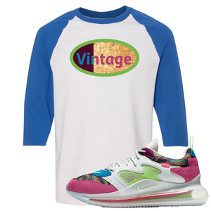 OBJ x Nike Air Max 720 Sneaker Hook Up Vintage Logo White and Blue Raglan T-Shirt