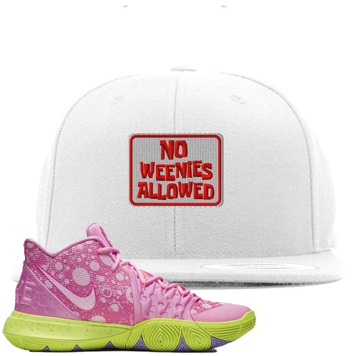 Spongebob Squarepants x Nike Kyrie 5 Patrick Star Sneaker Match No Weenies Allowed White Snapback