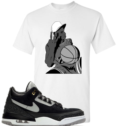 Air Jordan 3 Tinker Black Cement Sneaker Match Jordan Three Fingers White T-Shirt