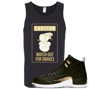 Jordan 12 WMNS Reptile Sneaker Hook Up Caution Snake Black Mens Tank Top