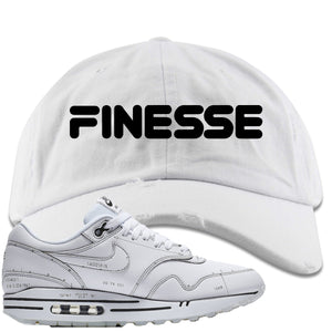 Nike Air Max 1 Sketch to Shelf White Sneaker Hook Up Finesse White Distressed Dad Hat