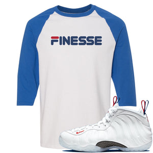 Nike WMNS Air Foamposite One USA Sneaker Hook Up Finesse White and Blue Raglan T-Shirt