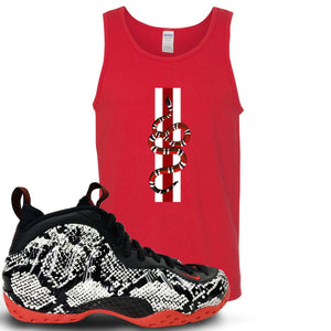 Foamposite One Snakeskin Sneaker Hook Up Coiled Snake Red Mens Tank Top