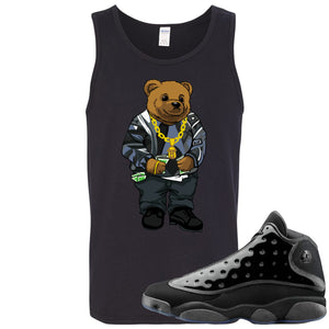 Air Jordan 13 Cap and Gown Sneaker Hook Up Sweater Bear Black Mens Tank Top