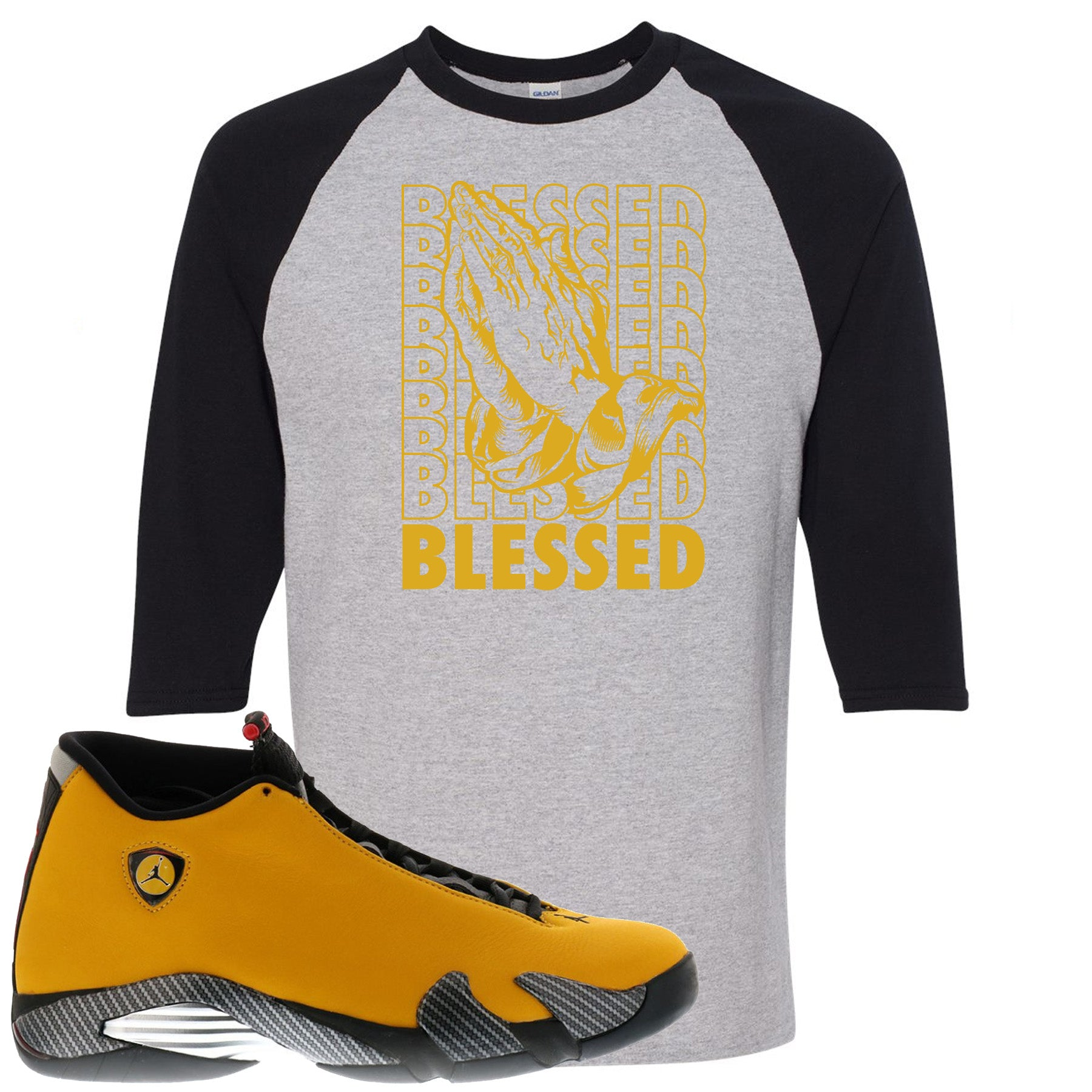 outlet store dc4ec ae63d Air Jordan 14 Reverse Ferrari Sneaker Match Blessed Sport Grey and Black  Raglan T-Shirt