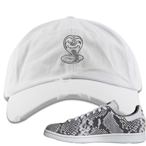 Adidas Stan Smith Grey Snakeskin Sneaker Match Cobra Snake White Distressed Dad Hat