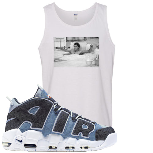 Nike Air More Uptempo Denim Sneaker Match Bathtub Scarface White Mens Tank Top