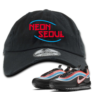 Air Max 97 Neon Seoul Sneaker Hook Up Neon Seoul in English Black Distressed Dad Hat