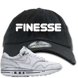 Nike Air Max 1 Sketch to Shelf White Sneaker Hook Up Finesse Black Distressed Dad Hat