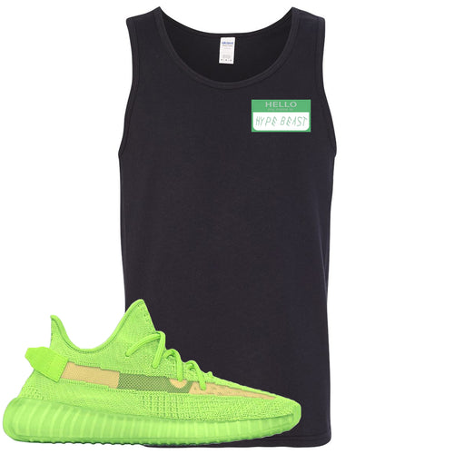 Yeezy Boost 350 V2 Glow Sneaker Match Hype Beast Drake Black Mens Tank Top