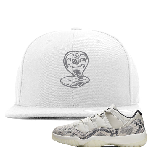 Air Jordan 11 Low Snakeskin Light Bone Sneaker Match Cobra Snake White Snapback