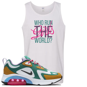 Nike WMNS Air Max 200 Mystic Green Sneaker Hook Up Who Runs The World White Mens Tank Top
