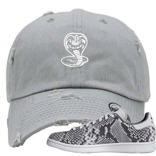 Adidas Stan Smith Grey Snakeskin Sneaker Match Cobra Snake Light Grey Distressed Dad Hat
