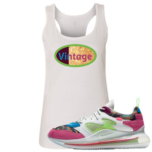 OBJ x Nike Air Max 720 Sneaker Hook Up Vintage Logo White Womens Tank Top