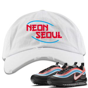 Air Max 97 Neon Seoul Sneaker Hook Up Neon Seoul in English White Distressed Dad Hat