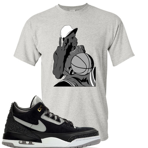 Air Jordan 3 Tinker Black Cement Sneaker Match Jordan Three Fingers Sports Grey T-Shirt