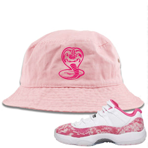 Air Jordan 11 Low WMNS Pink Snakeskin Sneaker Hook Up Cobra Snake Light Pink Bucket Hat