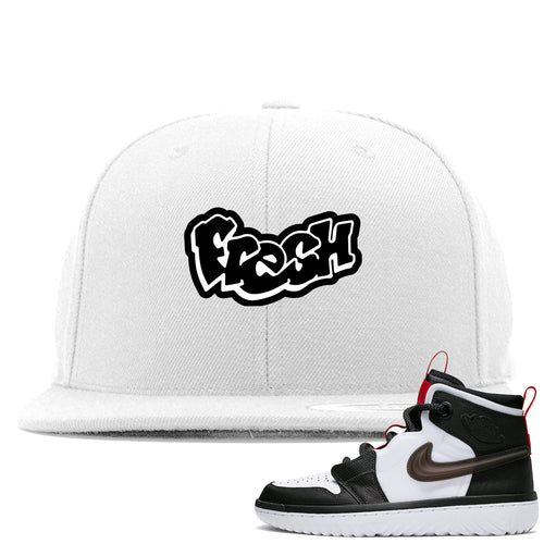 Air Jordan 1 High React White Black Sneaker Match Fresh Logo White Snapback