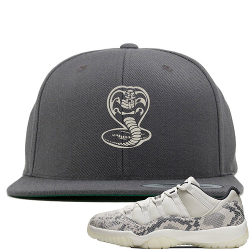 Air Jordan 11 Low Snakeskin Light Bone Sneaker Match Cobra Snake Gray Snapback