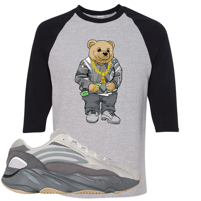 Adidas Yeezy Boost 700 V2 Tephra Sneaker Hook Up Sweater Bear Sports Gray and Black Raglan T-Shirt
