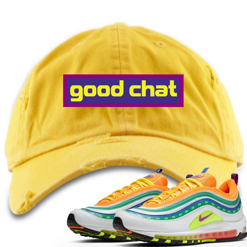 Air Max 97 Summer of Love Sneaker Match Good Chat Yellow Distressed Dad Hat