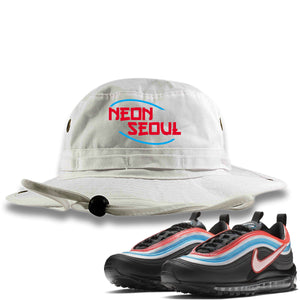 Air Max 97 Neon Seoul Sneaker Hook Up Neon Seoul in English White Bucket Hat