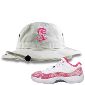Air Jordan 11 Low WMNS Pink Snakeskin Sneaker Hook Up Cobra Snake White Bucket Hat