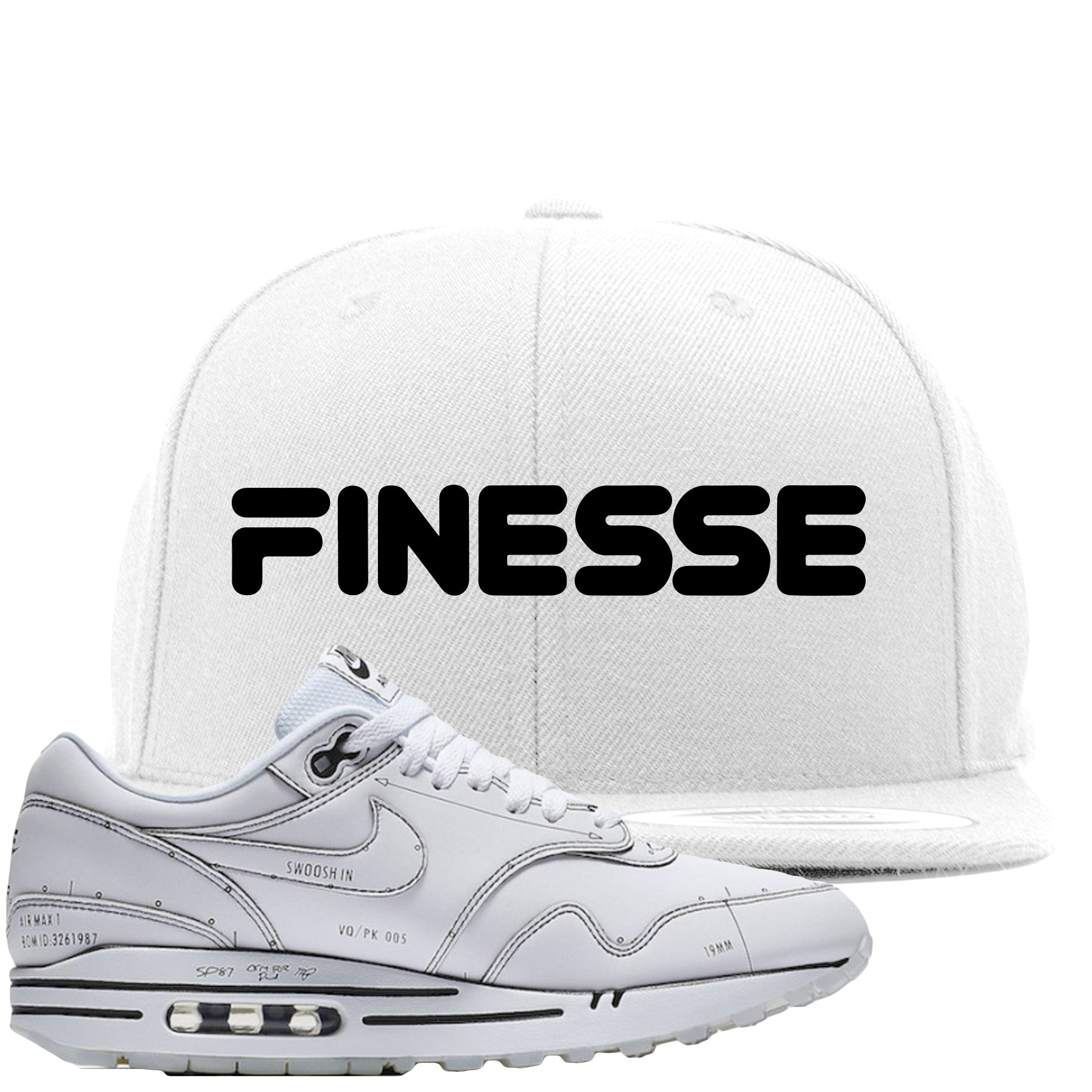 Nike Air Max 1 Sketch to Shelf White Sneaker Match Finesse White Snapback