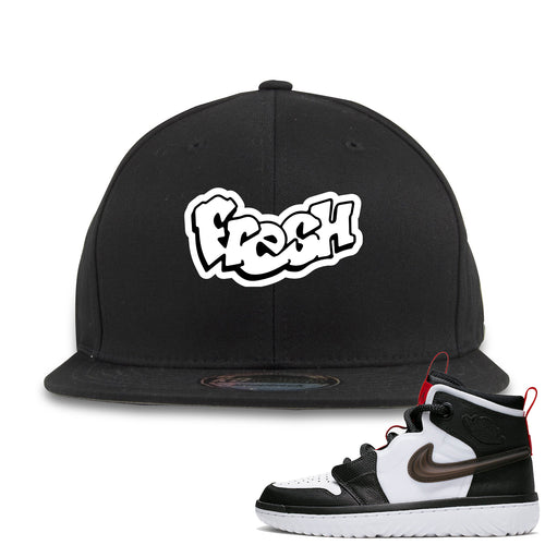 Air Jordan 1 High React White Black Sneaker Match Fresh Logo Black Snapback