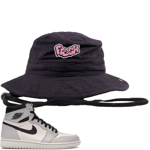This black and purple bucket hat will match great with your Nike SB x Air Jordan 1 Retro High OG Light Bone shoes