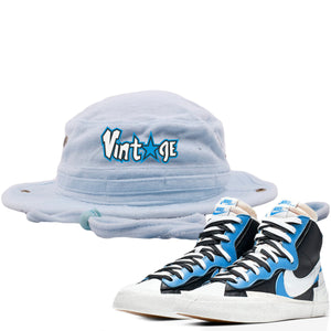 Air Max Sacai Blazer University Blue Sneaker Hook Up Vintage Logo with Star Light Blue Terry Bucket Hat