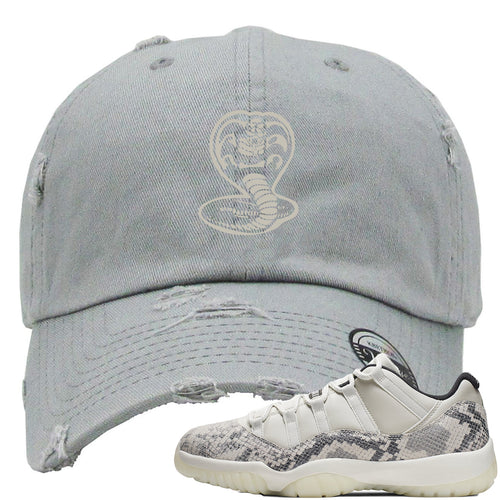Air Jordan 11 Low Snakeskin Light Bone Sneaker Match Cobra Snake Gray Distressed Dad Hat