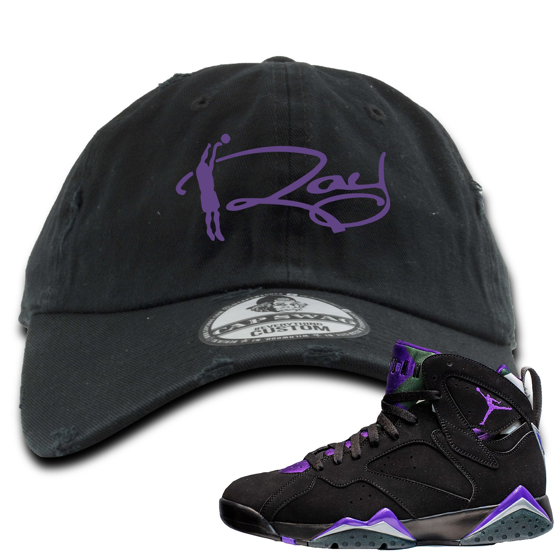 new product 29959 cb96f Air Jordan 7 Ray Allen Sneaker Match Ray Signature Black Distressed Dad Hat