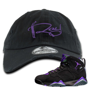 Air Jordan 7 Ray Allen Sneaker Hook Up Ray Signature Black Distressed Dad Hat