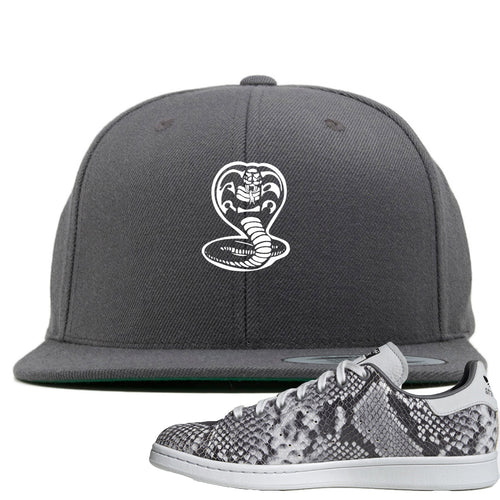Adidas Stan Smith Grey Snakeskin Sneaker Match Cobra Snake Dark Gray Snapback