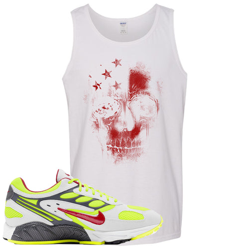 Nike Air Ghost Racer Neon Yellow Sneaker Match Skull White Mens Tank Top