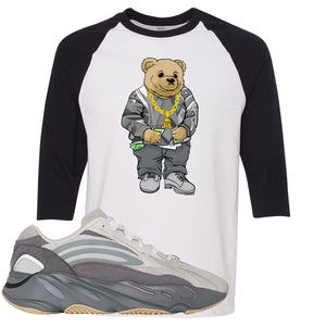 Adidas Yeezy Boost 700 V2 Tephra Sneaker Hook Up Sweater Bear White and Black Raglan T-Shirt