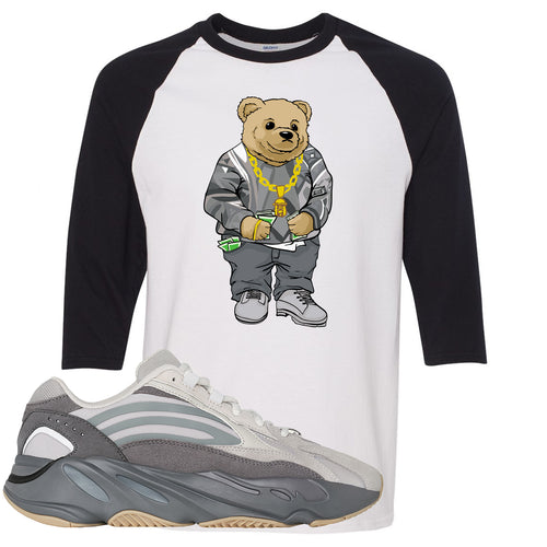 Adidas Yeezy Boost 700 V2 Tephra Sneaker Match Biggie Bear White and Black Raglan T-Shirt