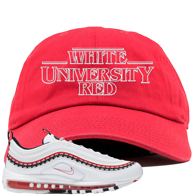Nike Air Max 97 White University Red Sneaker Hook Up Stranger Thing Red Dad Hat