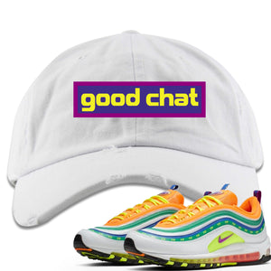 Air Max 97 Summer of Love Sneaker Hook Up Good Chat White Distressed Dad Hat